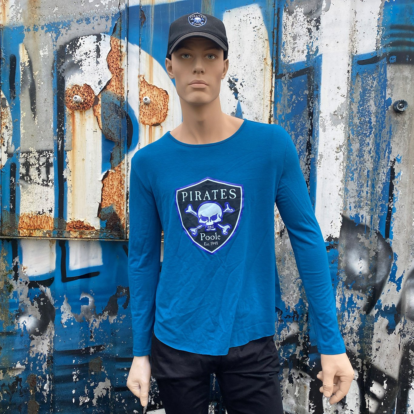 POOLE PIRATES SHIELD T-SHIRT LONG SLEEVE TEAL